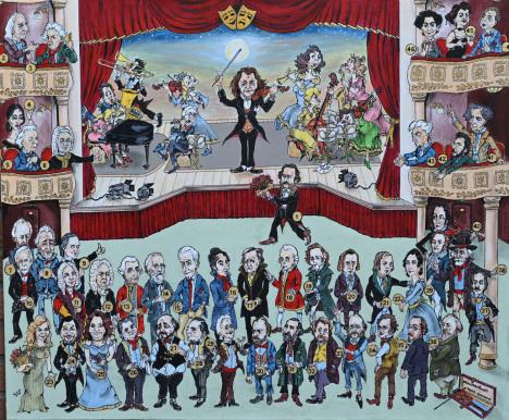 auf dem BILKARIKATUR befinde sich 45 Legenden aus MUSIK von Kompositoren bis Sopranistinen und Tenoren
